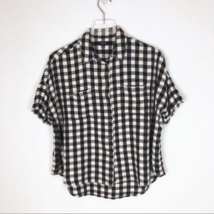 Madewell | black and white check crop flannel sz L